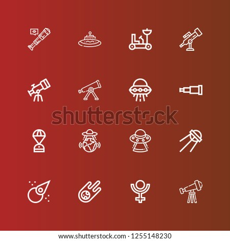 Editable 16 telescope icons for web and mobile. Set of telescope included icons line Telescope, Pluto, Meteorite, Asteroid, Sputnik, Ufo, Space capsule, Moon rover on red