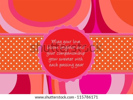 Editable template for a congratulations card (wedding, valentine, engagement) with abstract background, a polkadot ribbon and a retro label with your message