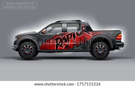 Editable template for wrap SUV with abstract Raptor text decal. Hi-res vector graphics. Stockfoto ©