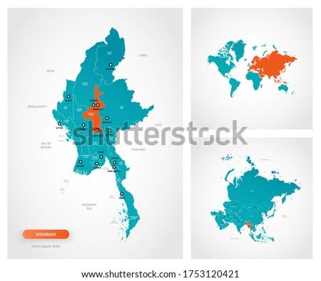 Editable template of map of Myanmar -  Burma with marks. Myanmar -  Burma on world map and on Asia map. Сток-фото ©