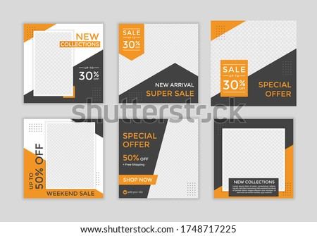 Editable template post for social media ad. web banner ads for promotion design with orange and black color.