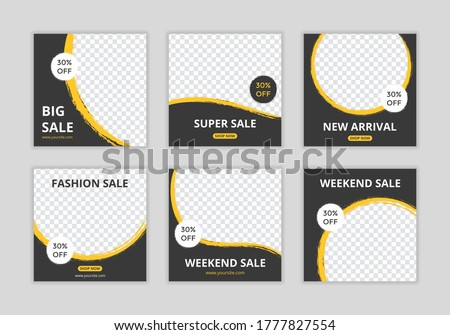 Editable template post for social media ad. web banner ads for promotion design with yellow and black color.