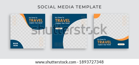 Editable template post for social media ad. web banner ads for travel promotion .design with blue and yellow color.