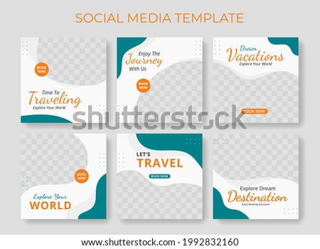 Editable template post for social media ad. web banner ads for travel promotion .design with green and orange color.