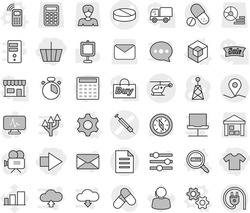 Editable thin line isolated vector icon set - basket, right arrow, t shirt, pill vector, ambulance helicopter, syringe, geo pin, document, gear, gears, mobile phone, 3d, data search, cook timer, buy