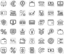 Editable thin line isolated vector icon set - dollar coin, pin, percent, cashbox, money, atm, bank vector, exchange, japanese candle, credit card, wallet, cash, bag, check, building, receipt, search