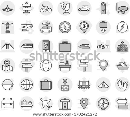 Editable thin line isolated vector icon set - dollar pin, singlepost, drawbridge, pyramid, map, mobile location, plane, broken, globe, train, car baggage, bike, detector, suitcase, checking, get