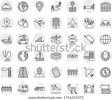 Editable thin line isolated vector icon set - journey, hospital bed vector, greate wall, bridge, drawbridge, lighthouse, minaret, dome house, road, geo pin, map, plane, mobile location, sea shipping