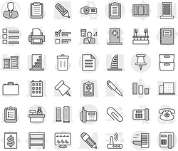 Editable thin line isolated vector icon set - list, copybook, pencil, building, skyscrapers, skyscraper, district, architector, pin, phone, clipboard, document, hotel, reception, rack, window, case