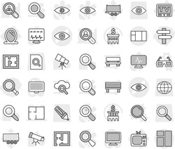 Editable thin line isolated vector icon set - magnifier, singlepost, eye vector, plan, mirror, tv, 3d glasses, telescope, bank building, truck trailer, search document, globe, marker, monitor, bench