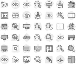 Editable thin line isolated vector icon set - magnifier, singlepost, eye vector, plan, plane, mirror, tv, pickup, telescope, bank building, truck trailer, search document, globe, marker, monitor