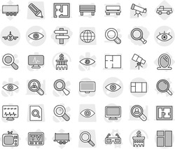 Editable thin line isolated vector icon set - magnifier, singlepost, eye vector, plan, plane, mirror, tv, 3d glasses, pickup, telescope, bank building, truck trailer, search document, globe, marker