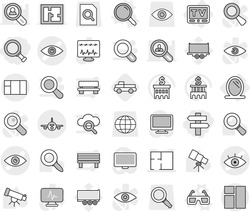 Editable thin line isolated vector icon set - magnifier, singlepost, eye vector, plan, plane, mirror, tv, 3d glasses, pickup, telescope, bank building, truck trailer, search document, globe, monitor