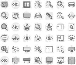 Editable thin line isolated vector icon set - magnifier, singlepost, eye vector, plan, plane, tv, 3d glasses, pickup, telescope, bank building, truck trailer, search document, globe, marker, monitor