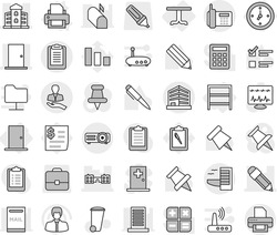 Editable thin line isolated vector icon set - pencil, door, building, school, office, phone, client, clipboard, hotel, watch, table, rack, printer vector, trash bin, pen, paper pin, exam, manager