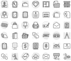 Editable thin line isolated vector icon set - receipt, shopping bag, sale label, ticket, heart cross vector, recipe, project, drawing compasses, pin, money, tax, clipboard check, map, printer, towel