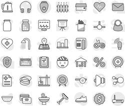 Editable thin line isolated vector icon set - scraper vector, shower, sink, kettle, colander, jar, pasta, presentation, graph, target, dollar medal, snickers, heart cross, hoop, navigator, warehouse