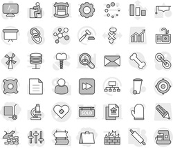 Editable thin line isolated vector icon set - shopping bag, cargo stoller, pacemaker vector, rolling pin, windmill, trash bin, sink, construct garbage, cook glove, graduate hat, student, microscope