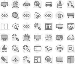 Editable thin line isolated vector icon set - singlepost, eye vector, plan, plane, mirror, tv, magnifier, 3d glasses, pickup, telescope, bank building, truck trailer, search document, globe, marker