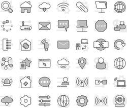 Editable thin line isolated vector icon set - smart house, laptop wifi vector, cloud service, data transfer, wireless, world, internet, social media, notebook network, folder, browser, gear, hub