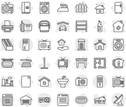 Editable thin line isolated vector icon set - tv, building, house with garage, brick, city, smart, phone, bungalow, sink, rack, stool, fridge, fence, inflatable pool, cutting board, mop vector, iron