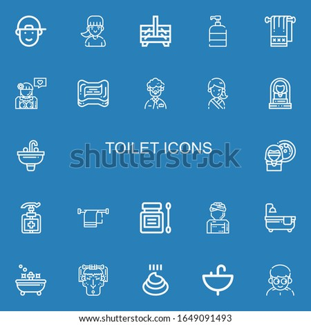 Editable 22 toilet icons for web and mobile. Set of toilet included icons line Boy, Girl, Sewing box, Soap, Towel, Man, Woman, Sink, Antiseptic, Bathtub, Bath on blue background