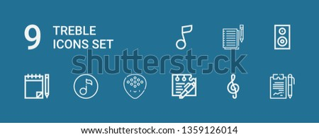Editable 9 treble icons for web and mobile. Set of treble included icons line Notes, Note, Plectrum, Quaver, Woofer, Musical note on blue background