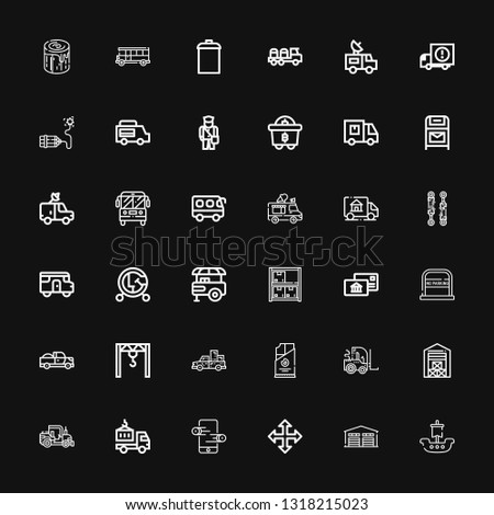 Editable 36 truck icons for web and mobile. Set of truck included icons line Ship, Warehouse, Move, Online store, Delivery truck, Tractor, Forklift, Coal, Pickup on black background