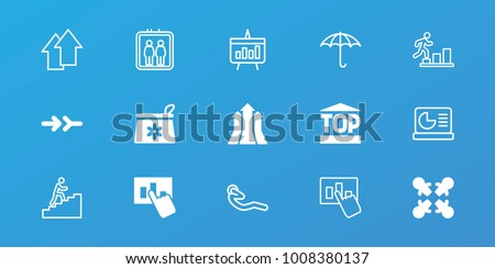 Editable 15 up icons: make up bag, roundelay, hand on graph, arrow, elevator, abdoninal workout, keep dry cargo, chart, chart on display, man climbing stairs