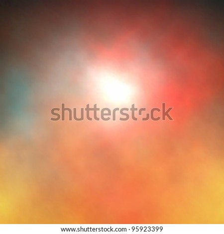 Editable vector background of a light or sun shining through colorful smoke or clouds made using a gradient mesh