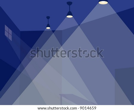 Editable vector background of an illuminated room