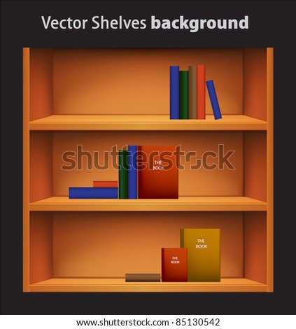 Editable vector bookshelf with colorful books