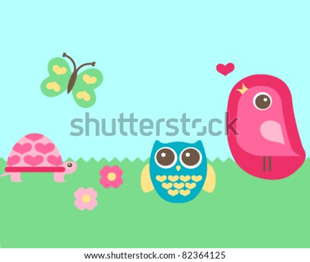 editable vector cute garden