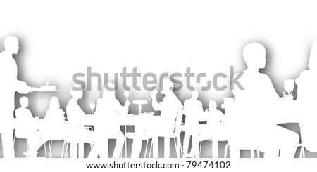 Editable vector cutout of people dining in a restaurant with background shadow made using a gradient mesh