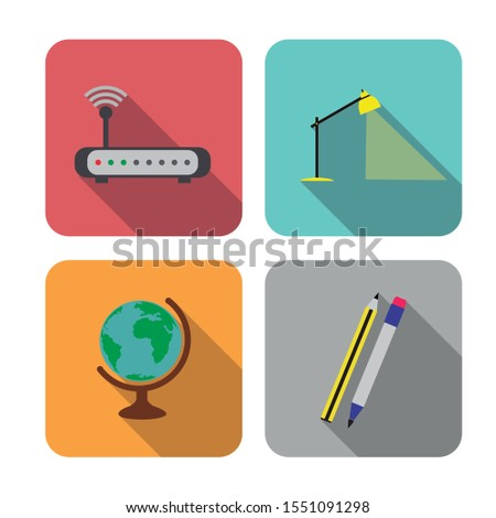 Editable vector. Different education icons. Object icons for the study. Various objects above the desktop.