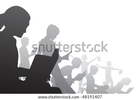 Editable vector foreground illustration of children reading books