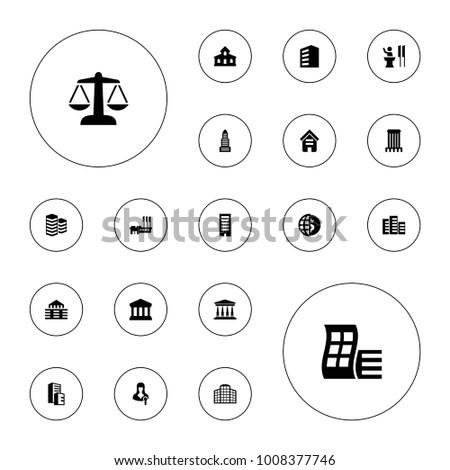 Editable vector government icons: building, modern curved building, business center, globe dollar, woman speaker, speaker, court on white background.