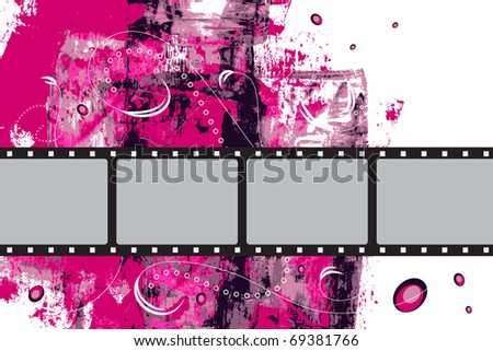 Editable vector grunge film frame background with space for your text or image.