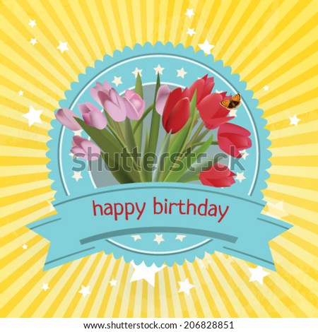 Editable vector happy birthday blue label with red tulips flowers on yellowe background