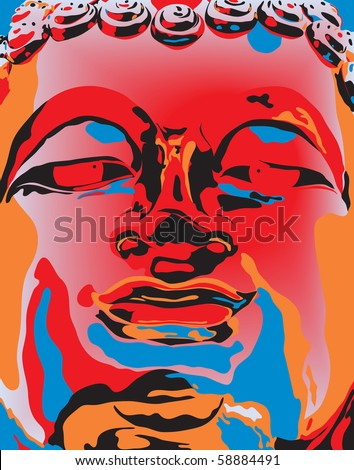 Editable vector illustration of a Buddha statue's face in popart color style