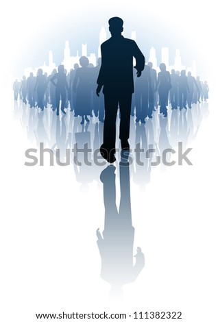 Editable vector illustration of a businessman walking in front of a crowd of people