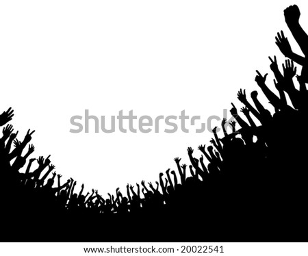 Editable vector illustration of a curved crowd silhouette with copy space