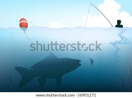 Editable vector illustration of a fish about to take the bait from a child's rod