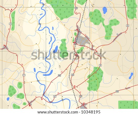 Editable vector illustration of a generic road-map without names - stock vector