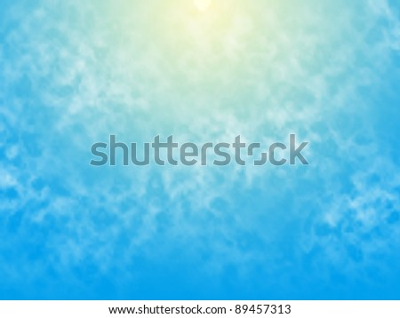 Editable vector illustration of a glowing sun behind wispy clouds made with a gradient mesh
