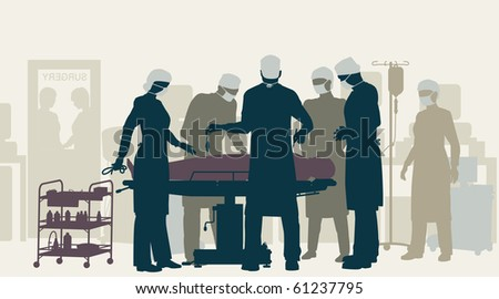 Editable vector illustration of a surgery in an operating theater