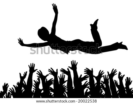 Editable vector illustration of a woman being caught by many hands with all arms as separate objects