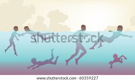 Editable vector illustration of adults and children swimming