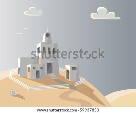 Editable vector illustration of an adobe homestead on a hilltop