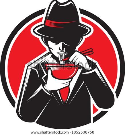editable vector illustration of an italian mafia eating ramen noodle restaurant mascot ストックフォト ©